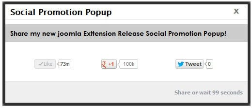 Social Promotion Popup