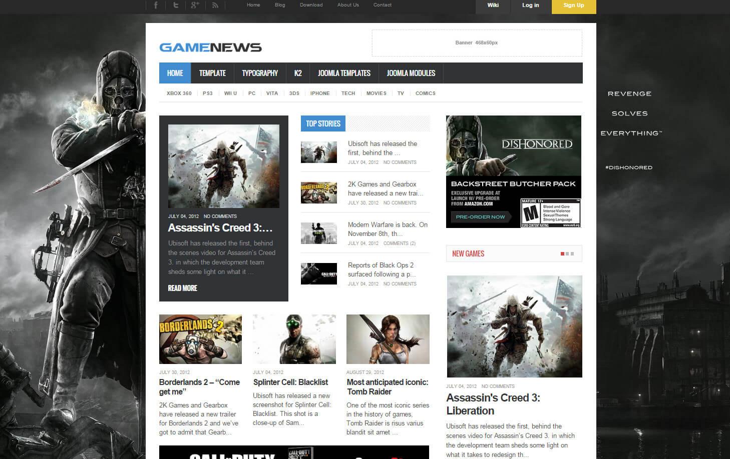 Game News - шаблон для CMS Joomla