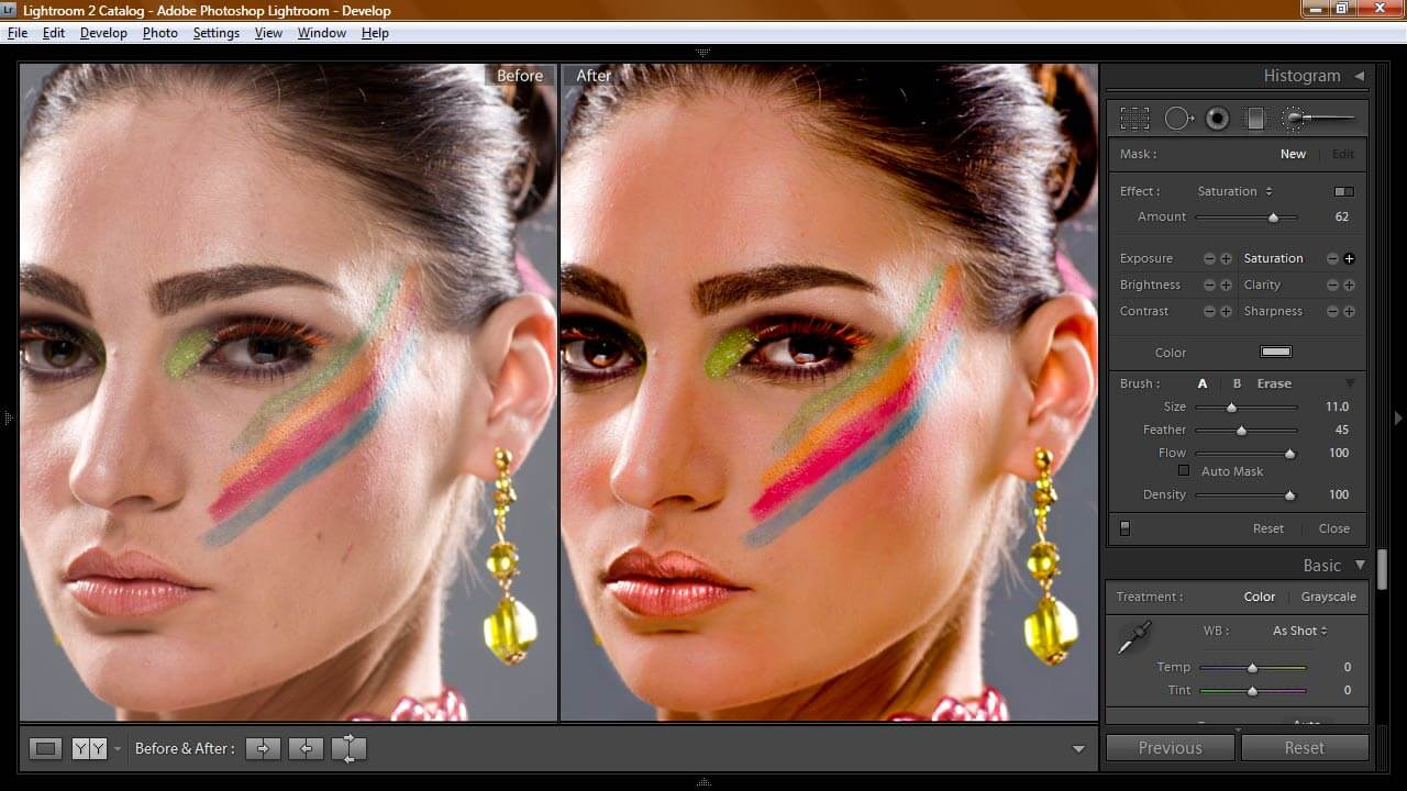 model retouch in lightroom by gagepiero