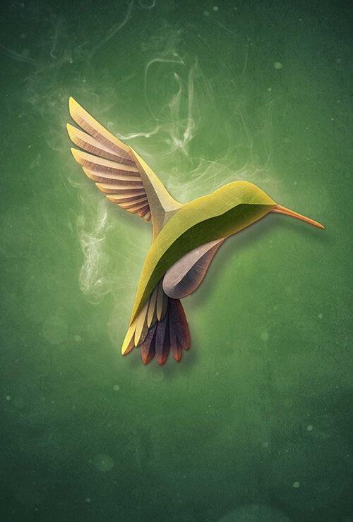 птица в дыме