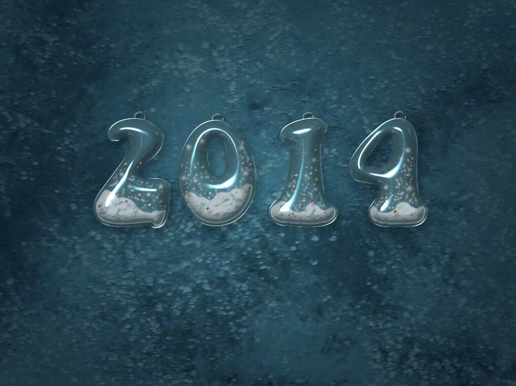 Новогодний текст из снежного стекла