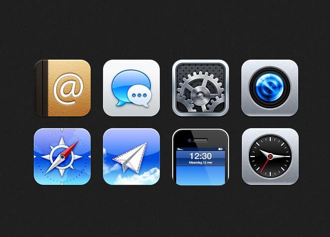 iOS иконки в PSD формате для Фотошоп