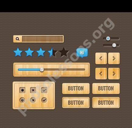 Finely Tooled Wooden Web UI Elements Set