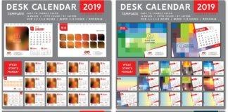 Desk Calendar 2019 vector template, 12 months included # 7