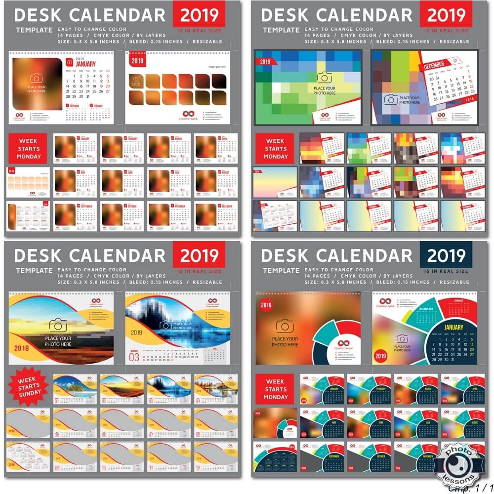 Desk Calendar 2019 vector template, 12 months included # 7