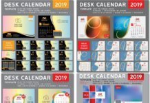 Desktop calendar for 2019 in vector # 8