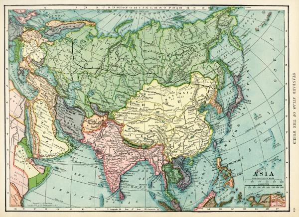 карта Евразии начала 20 века 1906 года